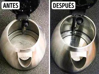 10Trucos para limpiar: Tetera y ollas - Necesitarás:  Vinagre. Aplicación:  Para eliminar los depósitos de cal en la tetera o en la olla que usas para calentar agua, vierte allí el vinagre con agua en proporción 1/2; tapa el recipiente. Deja hervir el agua tanto tiempo como sea necesario para que la cal desaparezca. A continuación, lava bien el utensilio.