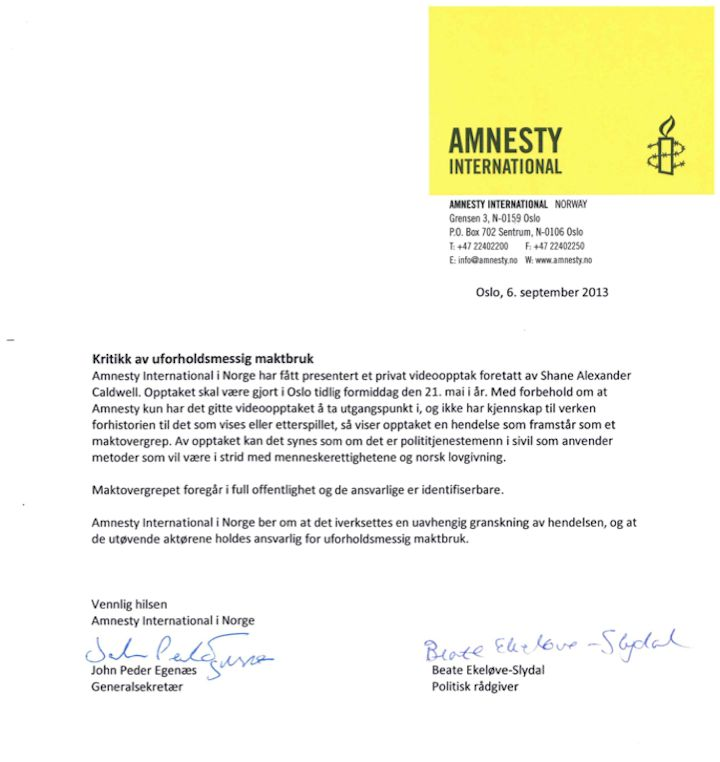 Amnesty International Norway makes statement on Controversial Police Film - See more at: http://www.circusbazaar.com/amnesty-international-norway-oslo-police/#/