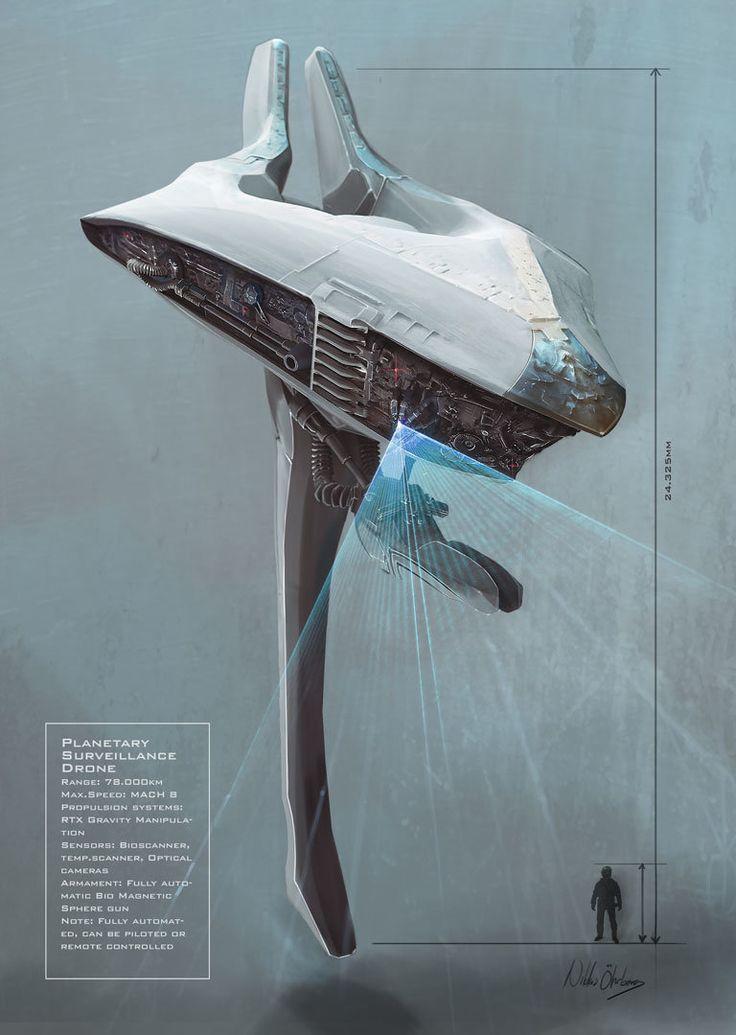 Planetary Surveillance Drone, Niklas Öhrberg on ArtStation at https://www.artstation.com/artwork/planetary-surveillance-drone