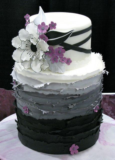 Black, grey, & white paper garden cake