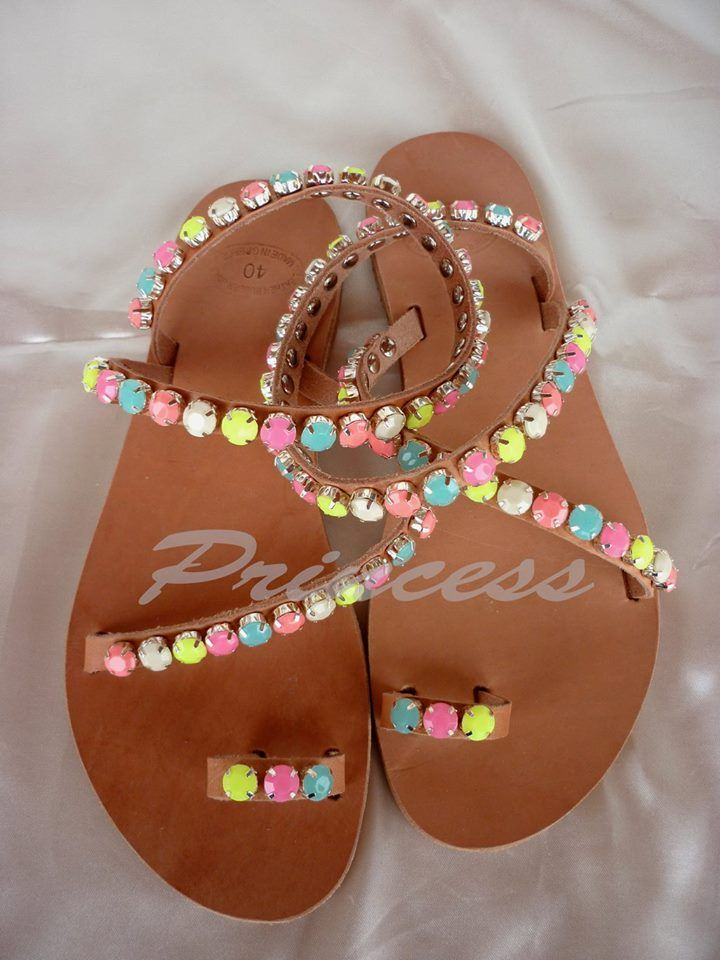 #princess #sandals #ancient #greek #sparkle #decorated #handmade #fluo #colors Greek sandals decorated with crystals