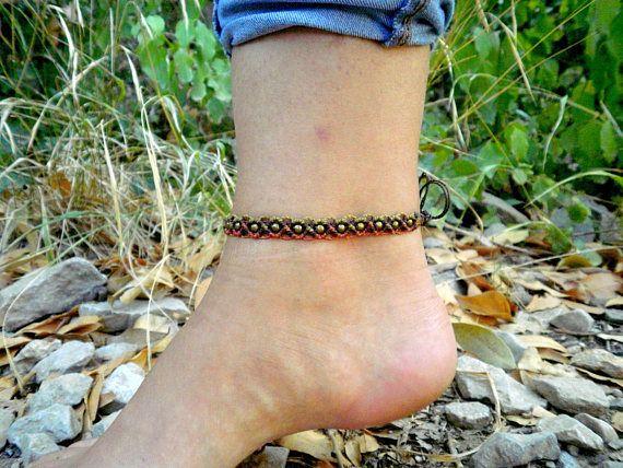 Chevillère / Bracelet de cheville macramé marron cuivre et