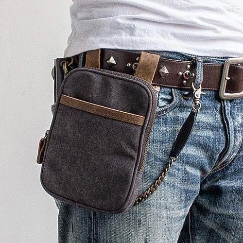 d9f89fa49ea5 Canvas Belt Pouch Mens Waist Bag Hip Pack Belt Bag Fanny Pack Bumbag ...