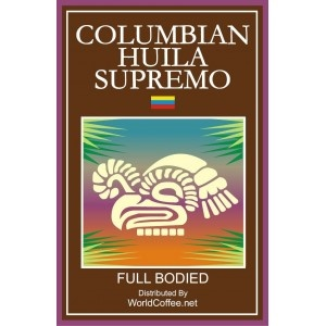 Colombian Huila Supremo. This is a full-bodied coffee with a crisp chocolaty taste and heavy finish.
