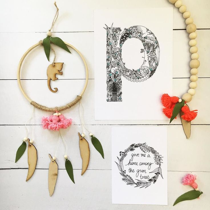p is for possum  . Like this cute little Ringtail in  The Wall Hoop handmade by the lovely ladies from @songbirdandwren. Isn't it beautiful?  The gorgeous little handmade gumdots blossoms are the best!  . . . . . . . . . . . . . . . . . . . .