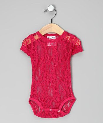 Hot Pink Lace Bodysuit - Infant - wear over a white onesie...