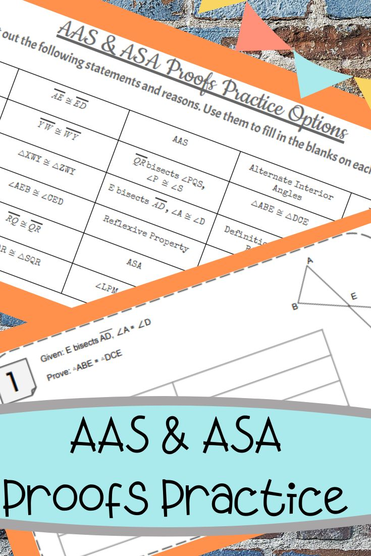 AAS & ASA Proofs Activity Fillin Proofs Triangles