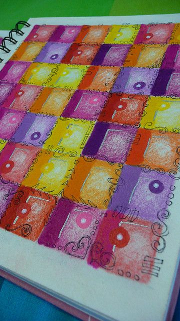 "love the color variations and the doodles ""sewing"" the squares together"