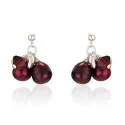 red pearl and swarovski pearl earrings on sterling silver £15 #redjewellery