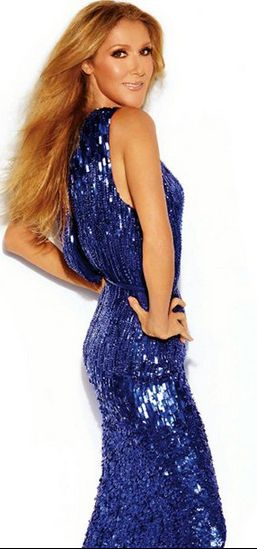 Who made Celine Dion's blue sequin gown? Dress – Elie Saab
