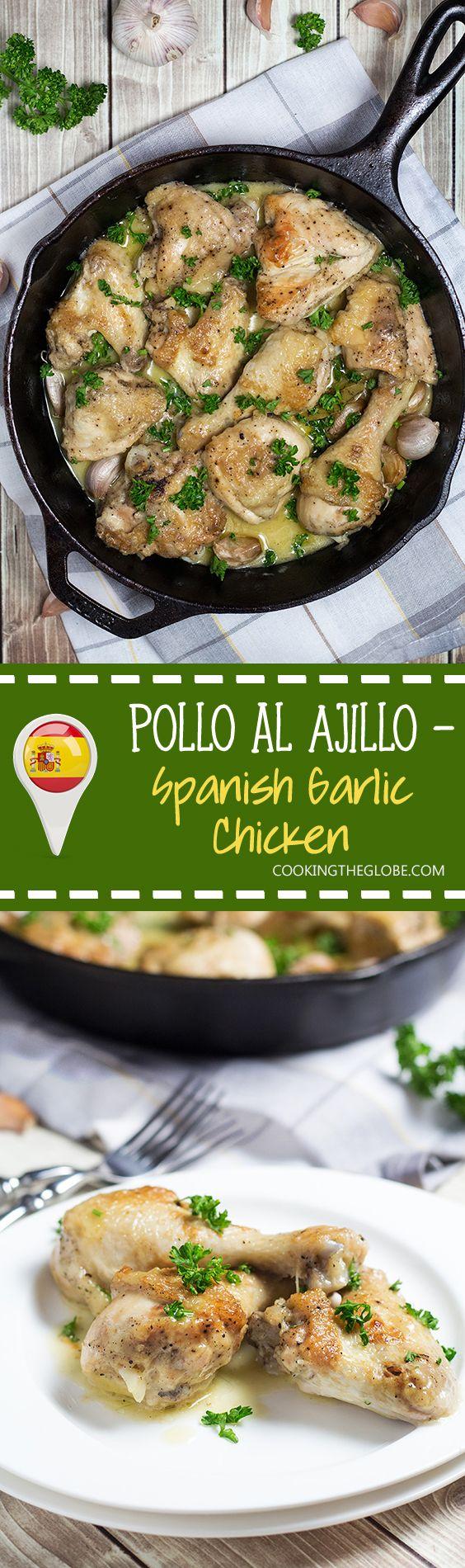 Pollo al Ajillo is a Spanish version of garlic chicken. This recipe requires only 7 ingredients to make!   cookingtheglobe.com