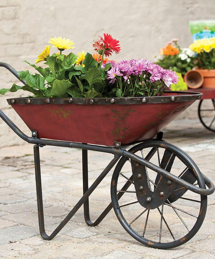 Evergreen Antique Red Metal Wheelbarrow Planter   zulily