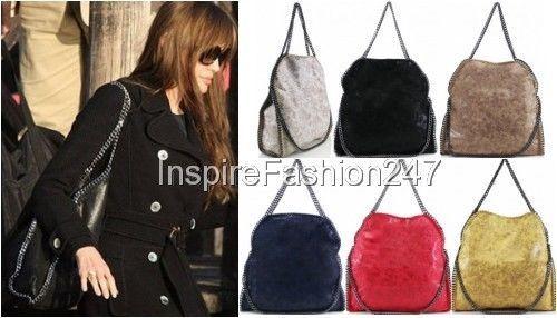 Stella Style LARGE and MINI Handbag CHAIN EDGE Hobo Tote Shoulder Messenger Bag