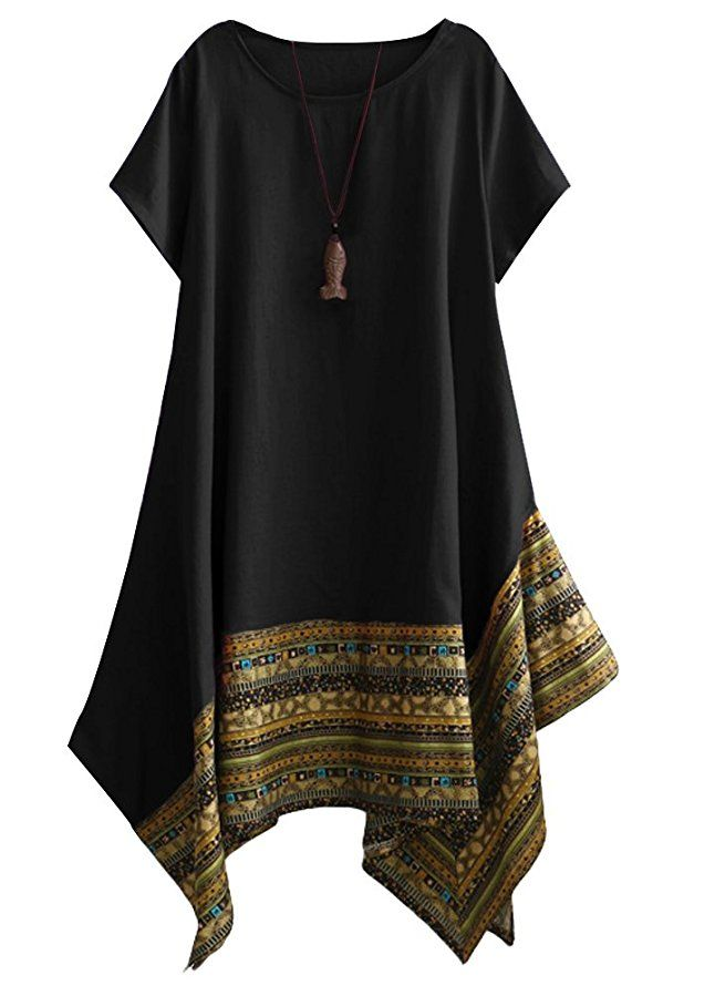 Vogstyle Women's Summer Cotton Linen Short Sleeve Tee Shirt Dress Irregular  Hem Tunic Black XXL