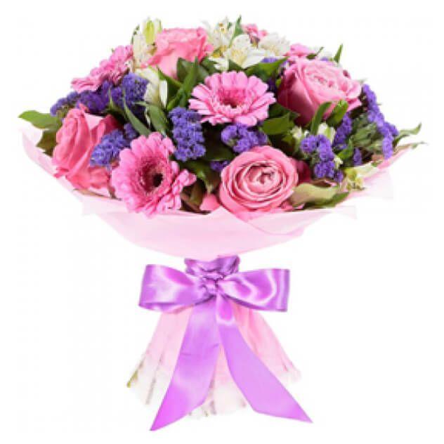 Букет из 3 розовых гербер, 3 розовых роз, 4 белых альстромерий, статица, зелень. Упаковка фетр с атласной лентой.