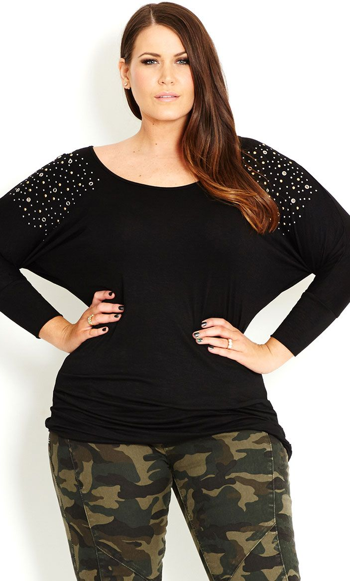 City Chic - BATWING STUD TOP - Women's plus size fashion