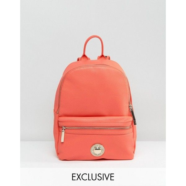 Versace Jeans Coral Backpack (€200) ❤ liked on Polyvore featuring bags, backpacks, orange, oversized bags, red bag, red backpack, oversized backpacks and animal print backpacks