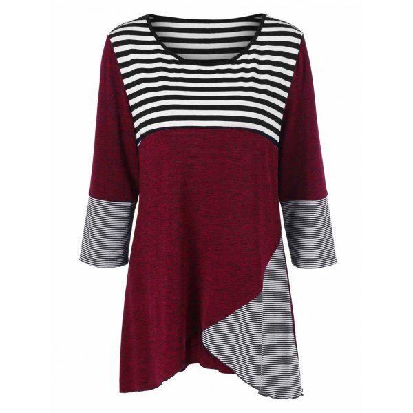Plus Size Striped Trim Button Embellished Tee, STRIPE, XL in Plus Size Tops | DressLily.com