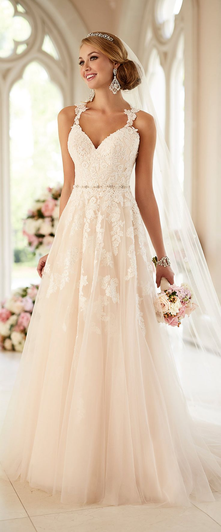 Stella York lace wedding dress with straps