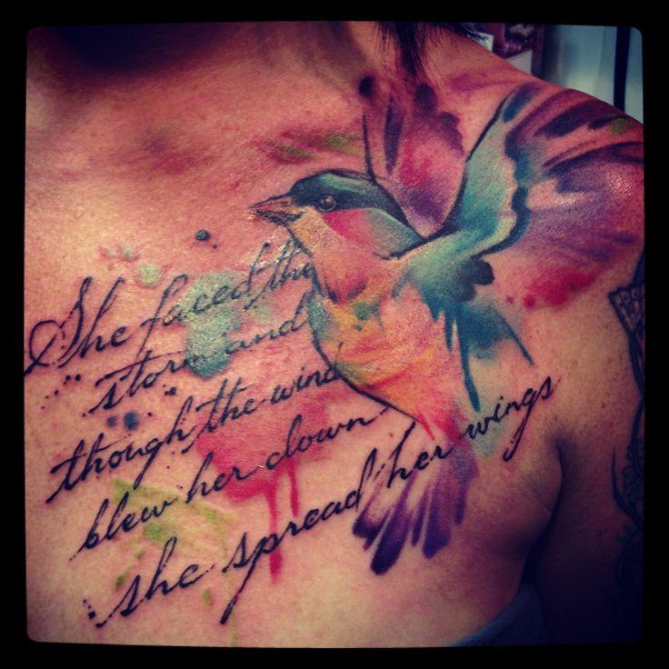 amazing hummingbird watercolor tattoo quotes on collarbone