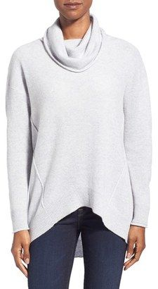 Kinross Exposed Seam Cashmere Cowl Neck Sweater - Shop for women's Sweater - Charcoal Sweater