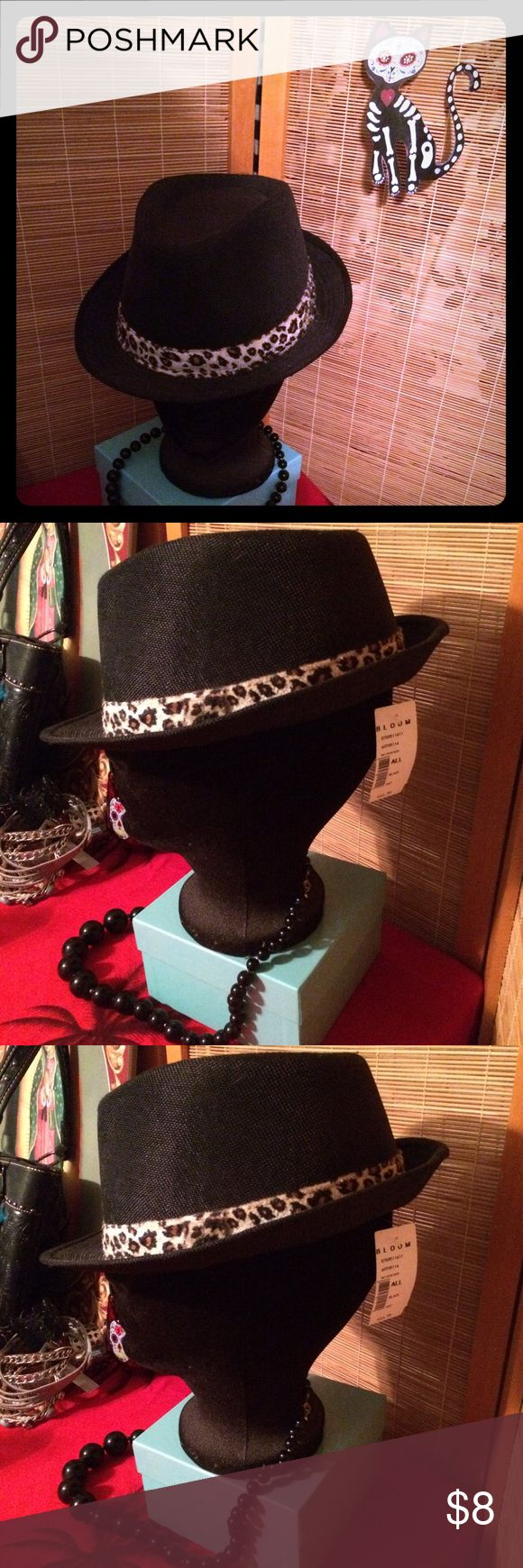 Leopard Trim Black Women's Fedora Hat and necklace Leopard Trim Women's Black Fedora Hat & Black Bead Necklace. Hat still has tag on it. Hat was $11.99 and necklace was $10. Both for $8. Quick & stylish solution to a bad hair day.🙎🏻👾 Jewelry Necklaces