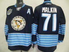 """Malkin #71 NHL Pittsburgh Penguins Navy Blue Hockey Jersey Sz48 by osca. $59.50. Collar: 100% polyester flat knit rib. The players' numbers and names are sewn on the backs. Body: 100% nylon diamondback mesh. Our store offers different kinds of jerseys. they are of high quality and low price. """"Customers highest, reputation first """" is our principle. cheap NHL jerseys will also never let you down.  Body: 100% nylon diamondback mesh  Collar: 100% polyester flat knit rib Officia..."""