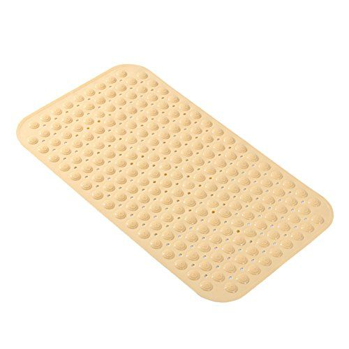 ONEONEY Large Bathroom Non-slip Mat With Suction Cups Hotel bathroom Shower Foot Mat with Massage Dots,Yellow,45X78.5CM
