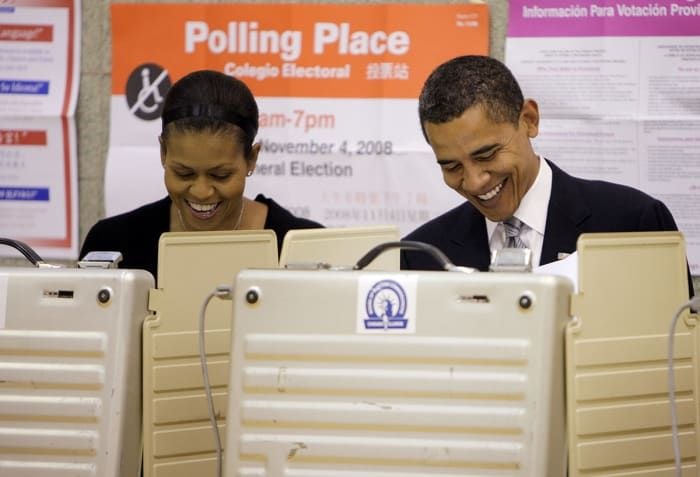 Barack and Michelle Obama cast their votes at a polling place in Chicago on Nov. 4, 2008.