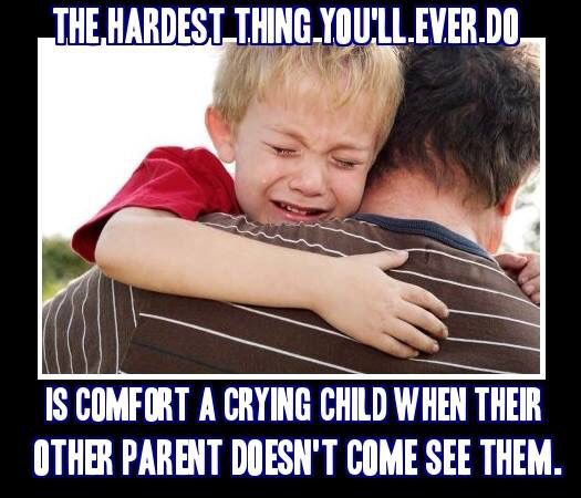 This is the hardest thing EVER !   Comforting  a child when they are made promises that aren't followed through or trying to explain that they shouldn't lie, cheat and steal when all the DEADBEAT did was lie, cheat and steal from them.  The pain NEVER goes away.