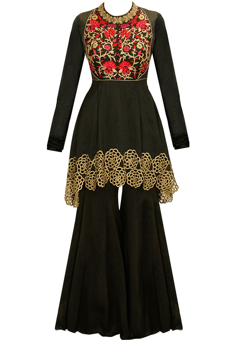 Black embroidered peplum kurta set available only at Pernia's Pop-Up Shop.