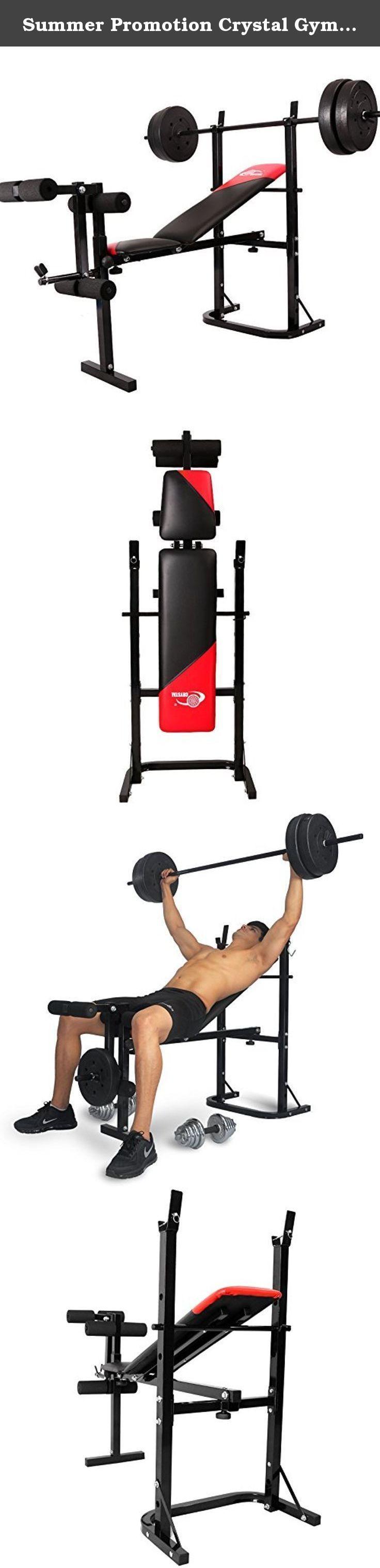 Summer Promotion Crystal Gym Equipment Weight Lifting Bench Leg Press Machine Body Building Exercise Bench-40kg. Material:Steel & Sponge & PE Plastic Back cushion:EPE Sponge Main Tube:Dia 38MM Colour:In option Max Load weight:250KG Qty/ctn:1PC/cnt Dimension:L142*W57*H107cm Carton Size:L109*W45*H10cm G.W/N.W :15/ 17 kgs Container: 600 PCS/20GP 1245 PCS/40GP 1405 PCS/40HQ MOQ:1 PCS .