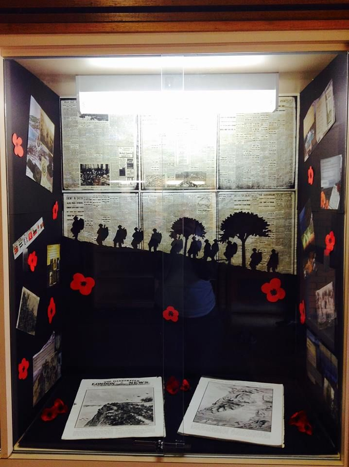 ANZAC DAY 2015 DISPLAY: Commemorating 100 years since the Gallipoli landing in ANZAC Cove, April 25th 1915. Included in the display are images from 'The Beach They Called Gallipoli' by Jackie French and news paper articles from WW1.