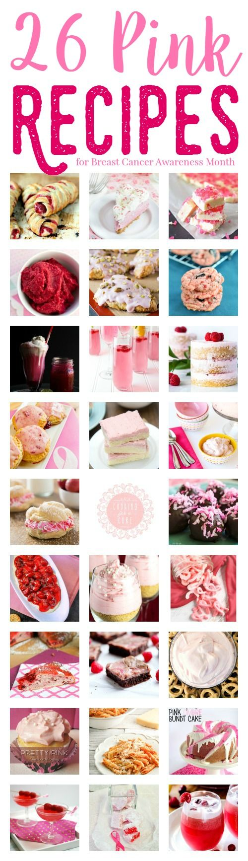 These pink recipes were made with love and honor of Breast Cancer Awareness Month- sweet treats, cold drinks and some savory dishes.