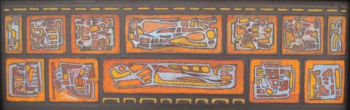 """Jaime Riveiro  """"Arte de pesca"""" Óleo y collage sobre tela 30 X 85 cms.  http://www.portondesanpedro.com/ver-producto.php?id=10955"""