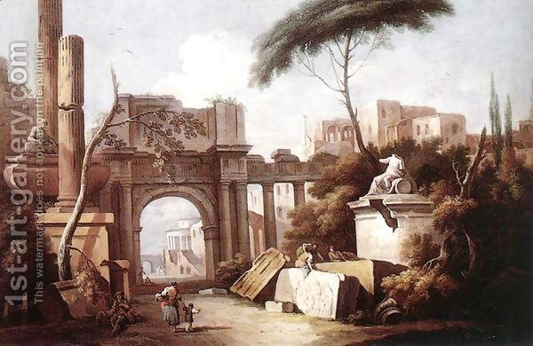 Ancient Ruins with a Great Arch and a Column 1735-40 by Giuseppe Zais