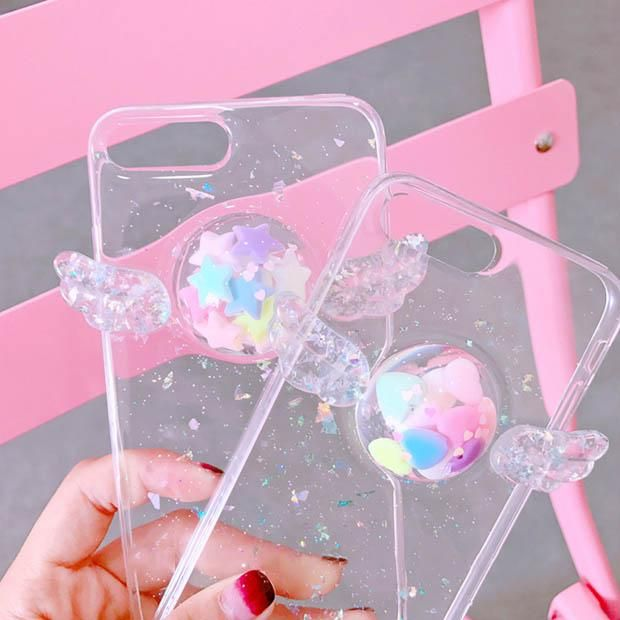 pale grunge  wing transparent heart stars phone case