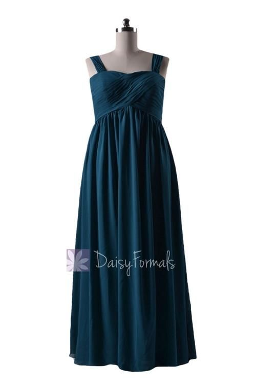 In stock,ready to ship - plus size long peacock teal chiffon bridesmaid dress (bm10821l)- (#42 dark teal)