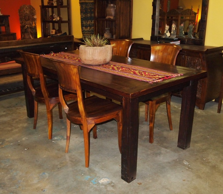 Reclaimed Teak Dining Table  Teak Chairs from GadoGado