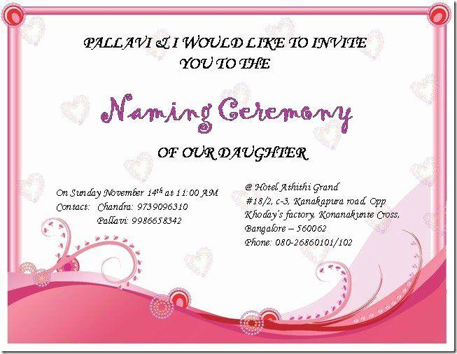 Baby Naming Ceremony Invitation Awesome Chandra S Random Updates Sireesha S Naming Ceremony Naming Ceremony Invitation Naming Ceremony Invitation Examples
