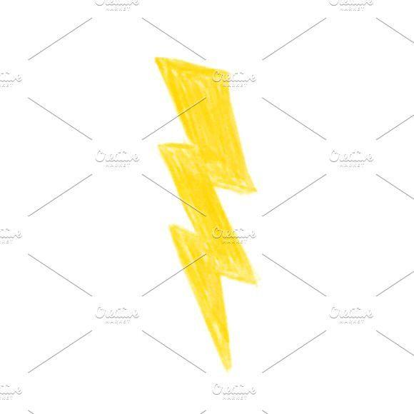 Illustration of hand drawn lightning #cartoon