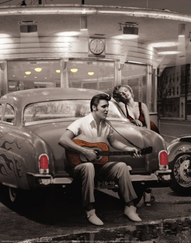 """""""Legendary Crossroads"""" by Chris Consani - great vintage look with Elvis and Marilyn #artprint"""