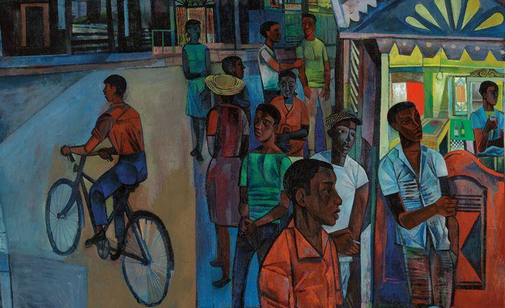 John Minton, Jamaican Village (detail), 1951, Oil on canvas