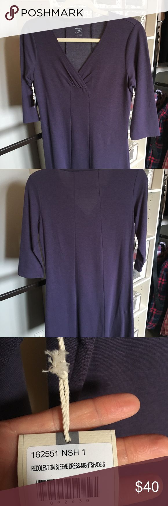 Horny Toad athletic dress Horny Toad dress ordered from Title Nine with tags still on it..NEVER WORN.  3/4 sleeve, knee length, size small. Horny Toad Dresses Long Sleeve