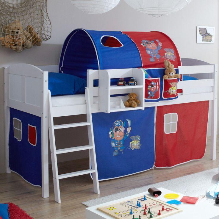 Kinderzimmer Blau Rot kinderzimmer wandfarbe rot hellgrau bordure Ticaa Hochbett Eric Kiefer Wei Country Pirat Blau Rot Ticaa Hochbett
