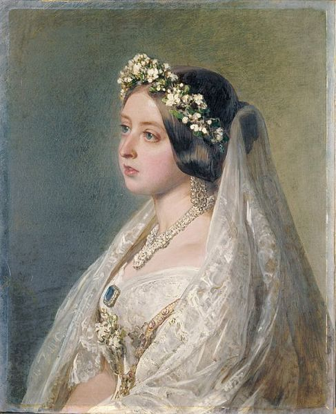 Queen Victoria was responsible for beginning the white wedding dress trend, now tradition, when she married Prince Albert in 1840. Because photography didn't exist in 1840, or possibly existed but not fully-developed, Queen Victoria commissioned artist Franz Xaver Winterhalter to paint her wedding portrait in 1847, as a gift to her husband.