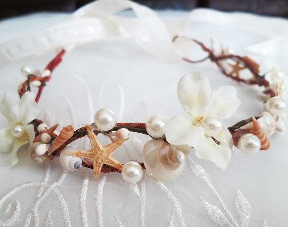 Mermaid's Tiara-Wedding Hair Accessory-Sea Shell Flower Crown-Beach Wedding Hair Crown-Crown of Shells