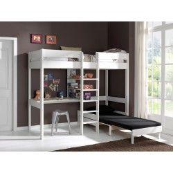 Lit mezzanine pour enfant avec fauteuil et bureau coloris blanc