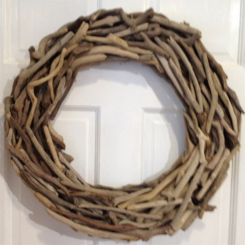 20 Inch Driftwood Wreath is created using individual pieces of driftwood to form a perfect wreath. Each piece of driftwood is pinned on so wreath may be used indoors or outdoors. A beautiful base to a