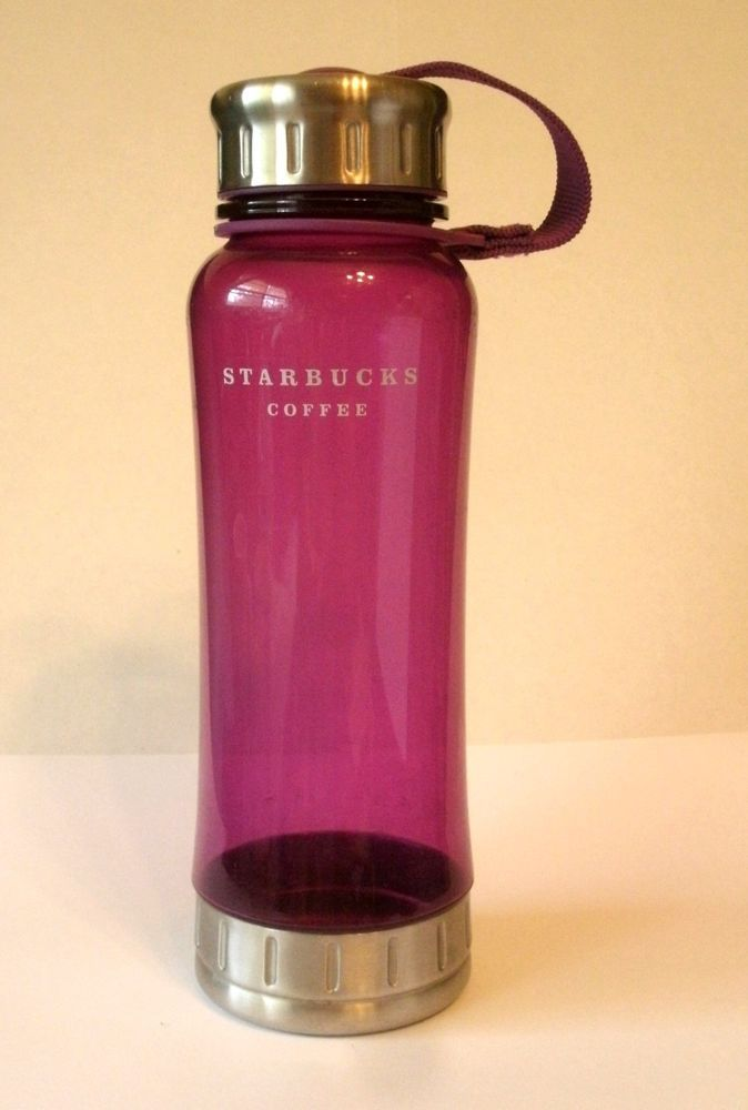 Starbucks Travel Water Bottle Purple Pink 18 oz 2006 Clear Plastic Cold Beverage #Starbucks